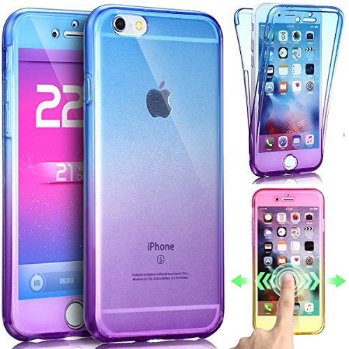 best service 0afdb 28814 iPhone 8 Plus Case,iPhone 7 Plus Case,ikasus [Full-Body 360 Coverage]  Gradient Color Crystal Clear Front Back Full Coverage Soft Clear TPU  Silicone ...