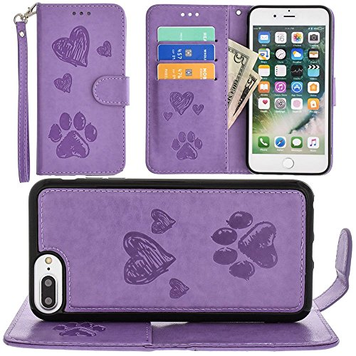 CellularOutfitter Apple iPhone 6 Plus/6s Plus/7 Plus Puppy Love Wallet - With Matching Detachable Magnetic Phone Case - Lavender