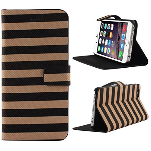 iphone 6 Plus Case, Sandistore Rainbow Stripes Wallet Flip Leather Case Cover For iphone 6 Plus (Brown)