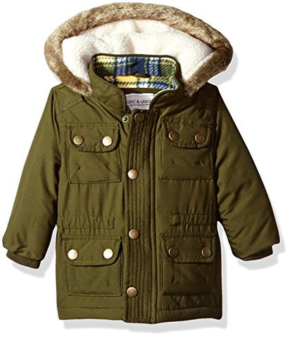 Carter's Baby Boys' Heavweight Parka Jacket Coat, Olive, 12 Months