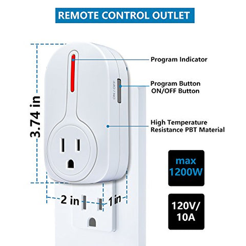 Wireless Remote Control Outlet, Kasonic Smart Home Remote Control Multi Purpose Combo Set [3 Electrical Outlets + 1 Remote] Perfect for Household Appliances and Devices; ETL-Listed