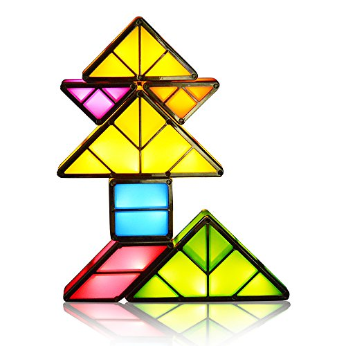 NextX Tangram LED Light Rechargeable Desk Lamp 3D Magnetic Toys Tetris Light Decorative Night Light Interlocking Light