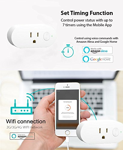 Energy Monitoring Wifi Smart Plugs - 2 pack, No Hub required - Control  Devices from your Phone from Anywhere, Compatible with Amazon Alexa &  Google