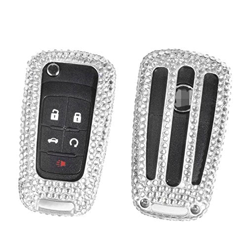 [M.JVisun] Handmade Car Key Fob Cover For Buick Encore Excelle GL8 Regal Excelle XT GT Remote Key Folding Flip Key, Diamond Car Key Case Cover, Aircraft Aluminum+Genuine Leather+Bling Crystal - Silver