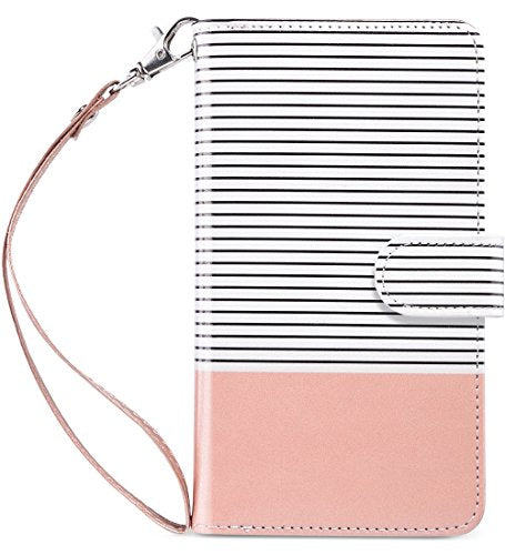 iPhone 6S Plus Wallet Case, iPhone 6 Plus Case, ULAK Multi Card Slots Magnetic Hybrid Flip Wallet Case Cover For Apple iPhone 6 Plus and iPhone 6s Plus 5.5inch Devices-Minimal Stripes Rose Gold