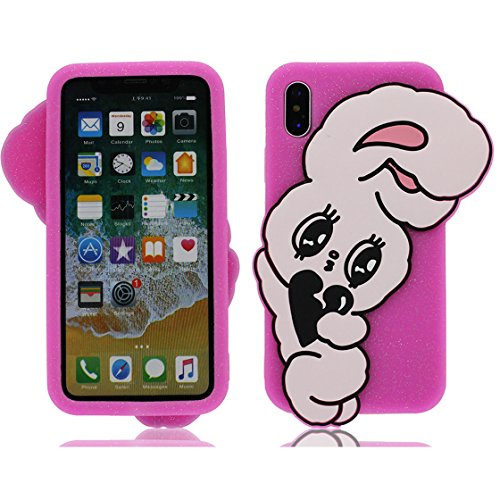 promo code 0a453 5ae97 YTLightRongZhouUS iPhone X Case, iPhone 10 Cover, Cute Rabbit Design 3D  Cute Cartoon Character Protective Skin Soft Rubber Silicone Case Cover for  ...