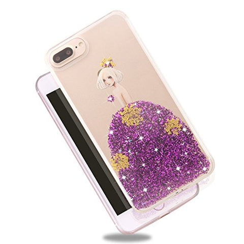 Rebbygena Beautiful Purple Dress Design iPhone 8 Case for Women Luxury Bling Glitter Sparkle Flexible Soft Rubber TPU Protective Cover for Apple iPhone 8 Girly Slim Clear Case