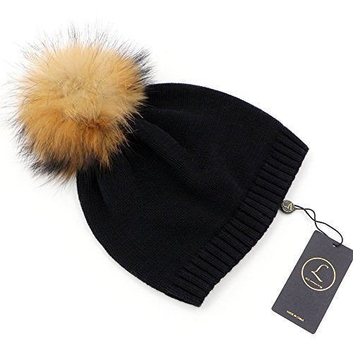 c0d18c5033d GZHILOVINGL Crochet Knitted Cotton Beanies Cap Infant Toddler Real Fur Pom  Pom Hat(Black)