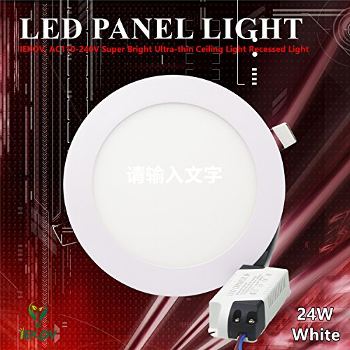 "LED Panel Light, IEKOV™ AC110-240V Super Bright Ultra-thin Ceiling Light Recessed Light, 1800lm, Cool White-6000K, 11.8"" Diameter, Cut Hole 11.1 Inch, 24W Round"