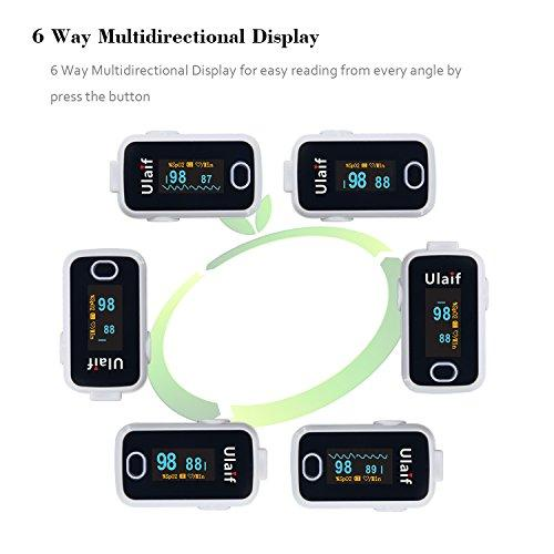 Fingertip Pulse Oximeter, OLED Portable Oximetry Blood Oxygen Saturation  Monitor SpO2 Finger Pulse Oximeter Readings with Carrying Case Lanyard