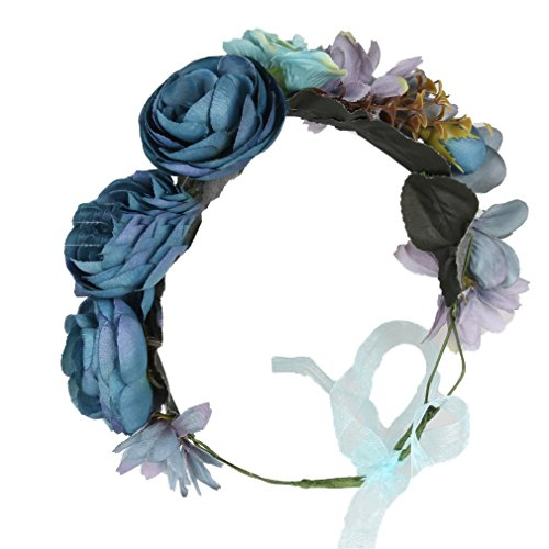 Flower Crown boho Headband Wreath Rose Floral Garland for Wedding Blue Cereoth