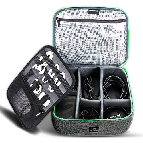 Cable Organizer Travel Bag,Electronics Accessories Organizer,Electronics Organizer Travel Bag and Travel Electronic Accessories Storage Bag for Cables,Phone,Power Bank, Mouse,iPad - Green