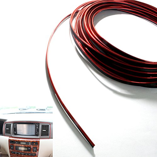 USUNO 10 Meters DIY Automobile Car motor Interior Exterior Decoration Moulding Trim Strip line Sticker + A Little tool as Gift.(RED)
