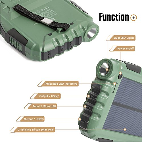 Elzle 25000mAh Portable Solar Power Bank Dual USB Output Battery Bank with  Strong LED light, Outdoor Solar Charger Phone External Battery