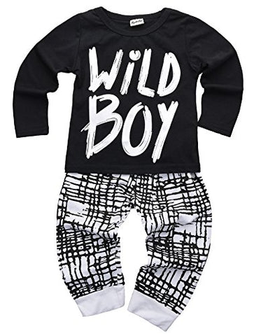 Baby Boys Clothes Set Short Sleeve Wild Boy T-Shirt Pants Outfit Winter Spring, Black, 18 - 24 Months (Tag Size 100)