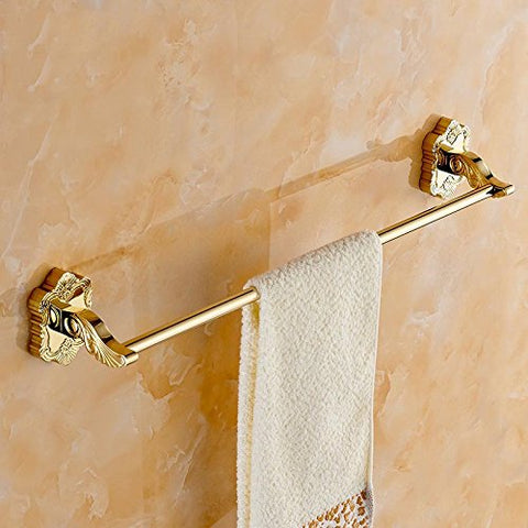 Yomiokla Bathroom Accessories - Kitchen, Toilet, Balcony and Bathroom Metal Towel Ring Gold single simple retro drilling 62cm