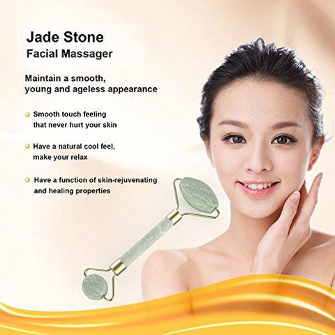 Jadestone Facial Roller,ARTIFUN Double Head Natural Jade Massager for Face Neck,Anti Aging and Tighten Skin Care Tool
