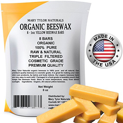 Mary Tylor Naturals Organic Beeswax Bars 8 x 1 oz Bars - 8 oz Total, Hand Made in the USA, Premium Quality Cosmetic Grade Beeswax Bars, Great for DIY Lip Balms Body Creams Lotions Deodorants