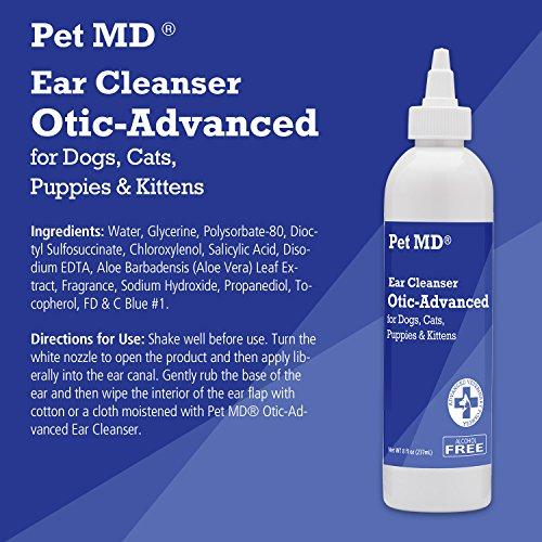 Pet MD - Otic Advanced Cat & Dog Ear Cleaner - Effective Against Otitis  Externa, Ear Infections Caused by Mites, Yeast, Itching & Odor - Apple Kiwi