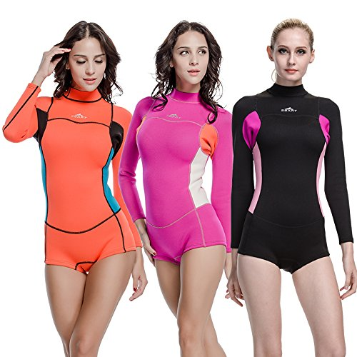 Neoprene Wetsuit Women 2MM Surfing Wetsuits One Piece Swimming Snorkeling Diving Wet Suit Long Sleeve