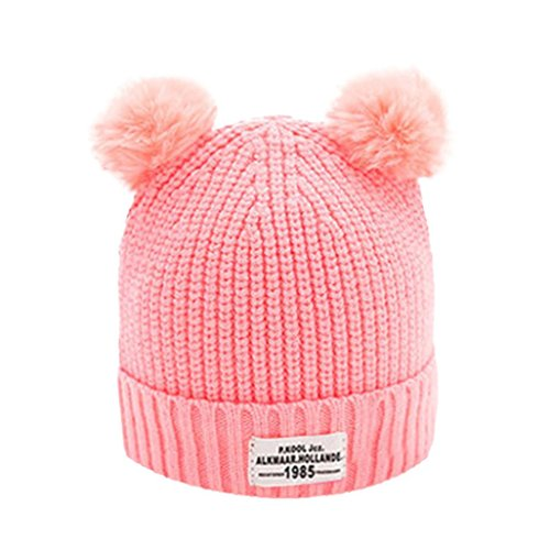 Staron Baby Winter Knitted Hats Toddler Wool Hemming Beanie Warmer Knit Earflap Cap (Pink A)