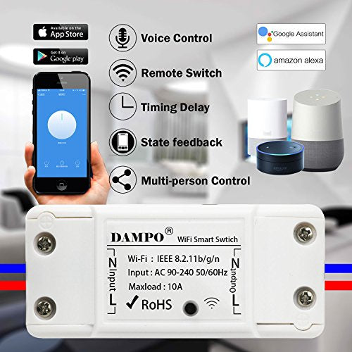 Wifi Switch,DAMPO Smart WiFi Wireless Switch Remote Control for Home Appliances and Lamps DIY Smart Home Compatible with Alexa and Google Home-2-PACK