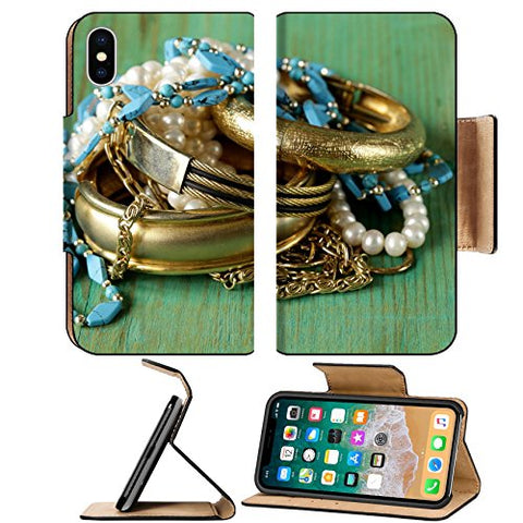 Luxlady Premium Apple iPhone X Flip Pu Leather Wallet Case IMAGE ID 27468230 gold and pearl jewelry on vintage wooden background