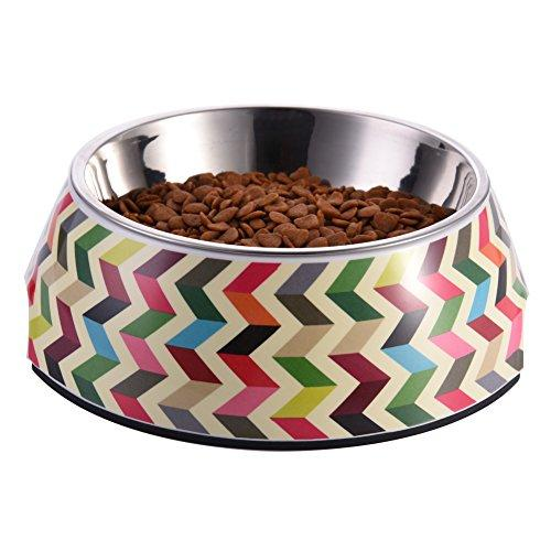 WIDEN Pet Bowl Pet Dog Cat Supplies Multicolor Striola Pattern