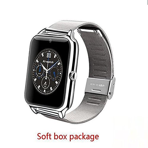 Luxury Z50 Smart Watch Men Women wristband Bluetooth Smartwatch Support SIM TF GPRS NFC Wearable Devices Sports Smart Watch For Android IOS Samsung iPhone HTC (SILVER SOFT BOX)