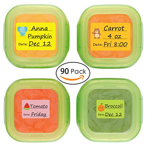 Baby Date Labels, Removable Write-On Labels for Baby Bottle, Food Storage Container, Freezer Tray & Reusable Pouch, Great for Daycare, Pack of 90