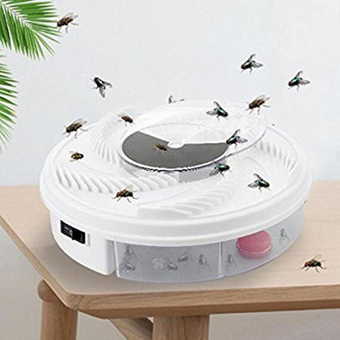 Iuhan® Rotating Electric Fly Trap Device Inserts Mosquitoes Trap Catcher with Trapping Food, Mommy Kitchen Helper, Non-toxic and Effective with USB Cable and Power Adapter (White(with plug))