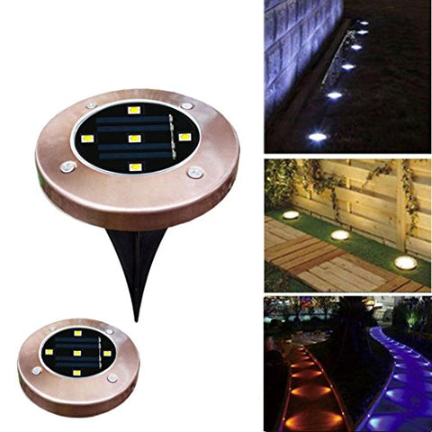 Vovomay Solar Power Buried Light Ground with 5 LED Lamp Outdoor Path Garden Decking