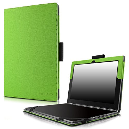 purchase cheap 82078 c9f49 Infiland Lenovo Yoga Book Case, Folio Premium PU Leather Stand Cover For  Lenovo Yoga Book 2-in-1 10.1-Inch tablet (Android and Windows Version)  -Green