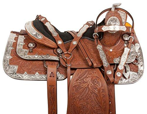"""16"""" CHESTNUT HAND CARVED PREMIUM LEATHER WESTERN PLEASURE TRAIL SHOW SILVER  HORSE SADDLE TACK INCLUDED SEMI BARS"""