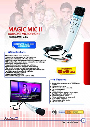 Magic Mic Index with 8000 English Songs SD Card, Real Instrumental Music.