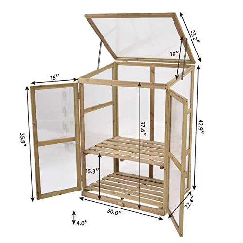 Greenhouse Portable Wooden Garden Cold Frame Raised Plants Shelve ...