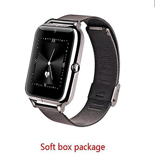 Luxury Z50 Smart Watch Men Women wristband Bluetooth Smartwatch Support SIM TF GPRS NFC Wearable Devices Sports Smart Watch For Android IOS Samsung iPhone HTC (BLACK SOFT BOX)