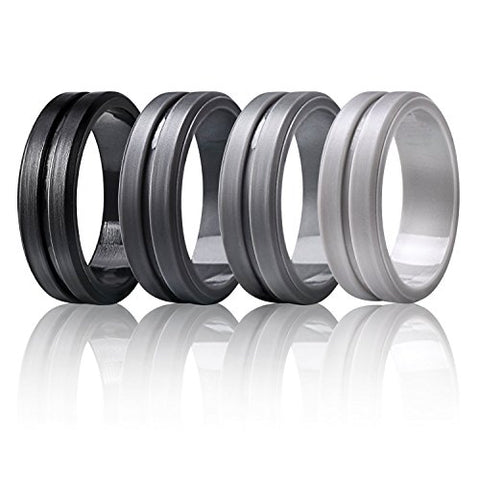 Marrimi Silicone Wedding Rings,Premium Silicone Wedding Bands for Men,Flexible,Skin Safe &Comfortable