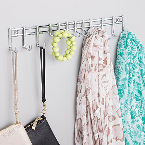 mDesign Closet Wall Mount Metal Accessory Organizer and Storage Center - Modern Slim Holder for Womens and Mens Ties, Belts, Scarves, Sunglasses, Watches - Hardware Included- 12 Hooks, Chrome Finish