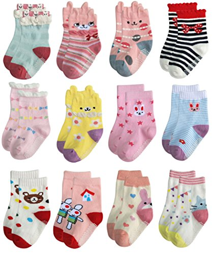 9f2df622a Deluxe Anti Slip Non Skid Crew Dress Socks With Grips For Baby Toddler Kids  Little Girls