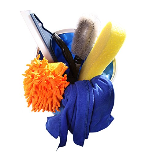 WildAuto 6PCS Car Cleaning Tools Set for Exterior and Interior of Car Silicone Water Blade Wheel Brush Easy Grip Sponge Car Wash Mitt Microfiber Cleaning Cloth Chamois Towel