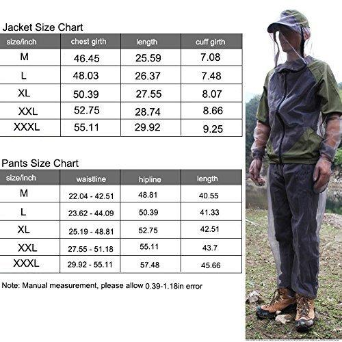 A.B Crew Breathable Mesh Bug Jacket Pants Mitts Lightweight Mosquito Repellent Suit for Hiking Fishing Camping (XX-Large)