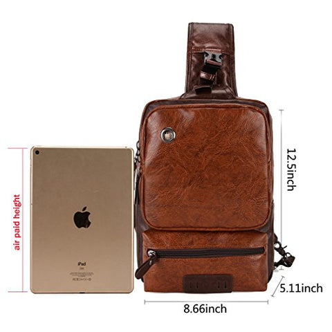 VICUNA POLO Men Sling Backpack External USB Charge Men Crossbody Bag Large Capacity Casual Travel Man Bag(brown)