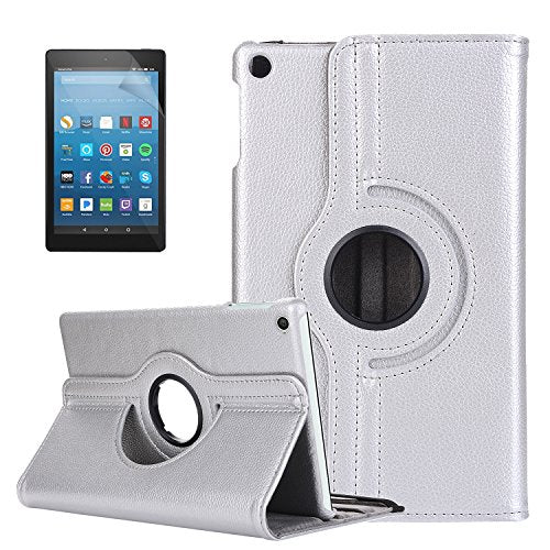 【ElekFX】Rotating Case for Fire HD 8 (7th Gen, 2017) - PU Leather 360 Degree  Rotating Cover Swivel Stand Auto Wake / Sleep, Compatible with Fire HD