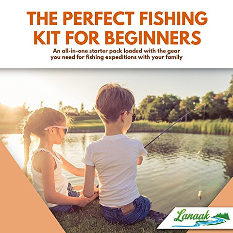 Kids Fishing Rod Kit with Tackle Box, Net, Travel Bag and Starter Guide | Pole & Reel Combo Set (37 pieces)