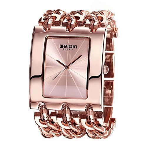 JIANGYUYAN Womens gorgeous Fashion Classic Casual Luxury jewelry watch Business Dress watches Bracelet bangle Chain wristwatches Rose Gold Stainless Steel Square case watches for ladies for big wrist