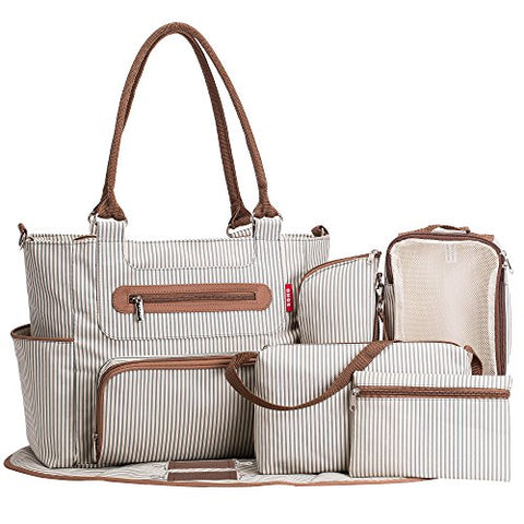 SoHo diaper bag Grand Central Station 7 pieces set nappy tote bag large capacity for baby mom dad stylish insulated unisex multifuncation waterproof includes changing pad stroller straps Stripe White