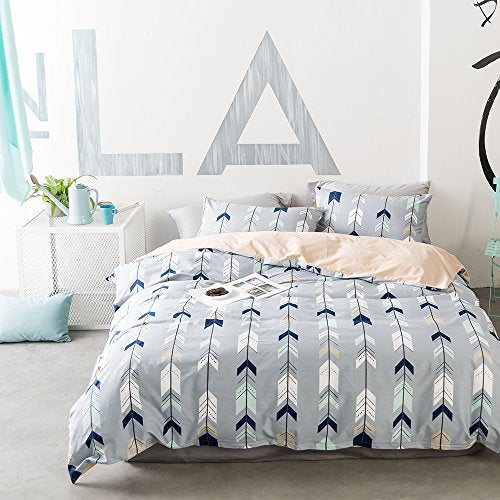 VClife Twin Kids Duvet Cover Sets Cotton Cupid Arrow Printed Pattern Bedding Sets, Reversible Geometric Design, Boys Teens Quilts Comforter Cover Sets, Zipper Closure Corner Ties, Ultra Soft (Twin)