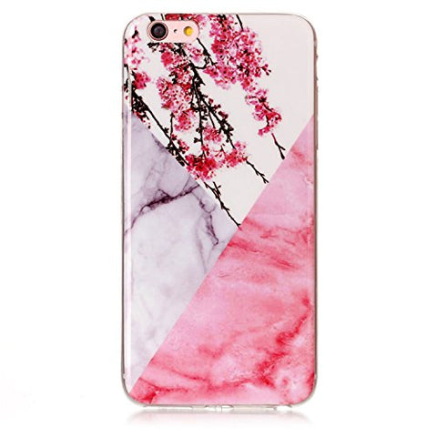 Nicholas Wit Silicone Phone Case Fundas For iPhone 8 7 6 6S Plus 4S 5 5S SE 5C ipod touch 6 Soft Marble Stone Cover Plum Blossom For iPhone 5 5S SE