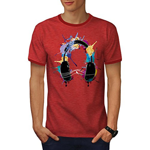 Wellcoda Music Headphones Beat Men Ringer T-shirt